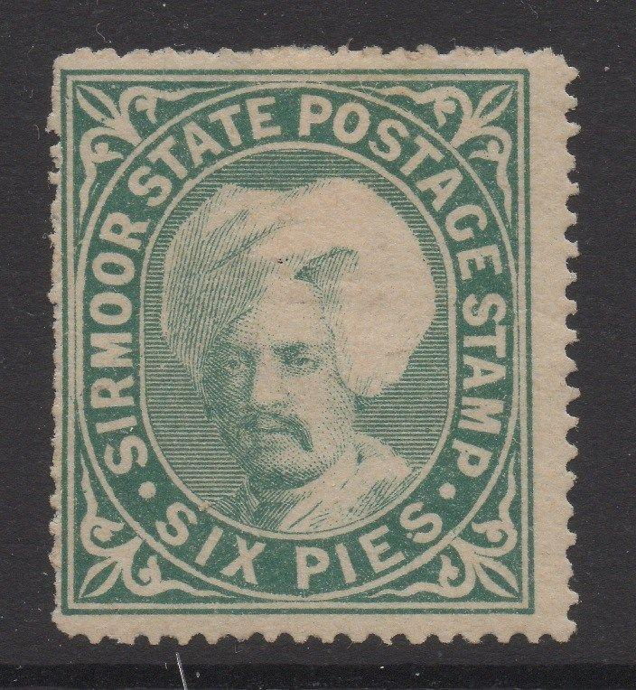 INDIA;   SIRMOOR 1885-95 early Shamsher issue Mint unused 6p. value