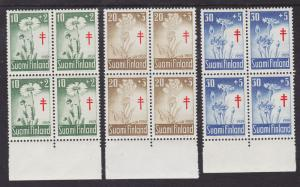 Finland Sc B154-156 MNH. 1959 Flowers cplt, blocks of 4