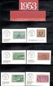 1017-28 US Postage Commemorative Stamps (1953) In Mounts & Post Marked  Mint/nh