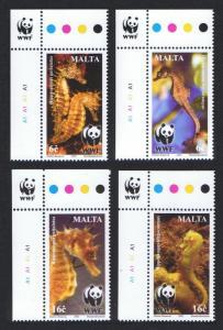 Malta WWF Mediterranean Seahorses 4v Top Left Corners with WWF Logo SG#1243-1246