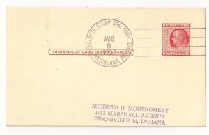 UX38 cnl Precancel Stamp Soc Conv Aug 8 1957 Pittsburgh PA