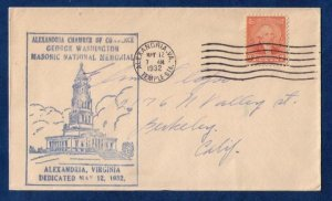 US Sc 714 Postal History Cachet Cover Alexandria Virgina May 12,1932 F-VF
