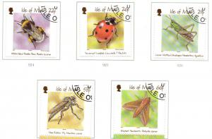 Isle of Man Sc 895-9 2001 Insects stamp set used