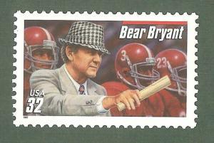3148 Bear Bryant Red Bar US Single Mint/nh FREE SHIPPING