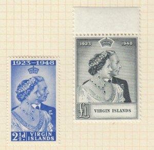 VIRGIN ISLANDS # 90-91 VF-MH KGV1 1948 SILVER WEDDING ISSUE