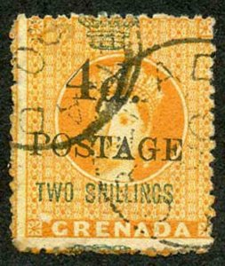 Grenada SG41 4d on 2/- (4mm between 4d and postage) Cat 21 pounds