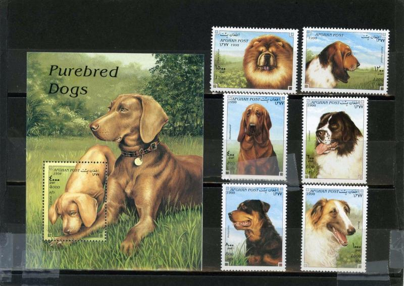 AFGHANISTAN 1998 Mi#1754-1759,Bl.98 DOGS SET OF 6 STAMPS & S/S MNH