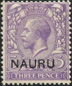 Nauru 1916 SG7 3d bluish violet KGV ovpt MLH