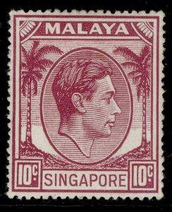 SINGAPORE GVI SG22, 10c purple, M MINT.