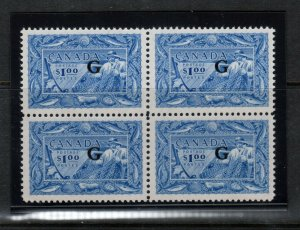 Canada #O27 Extra Fine Never Hinged Block **With Certificate**