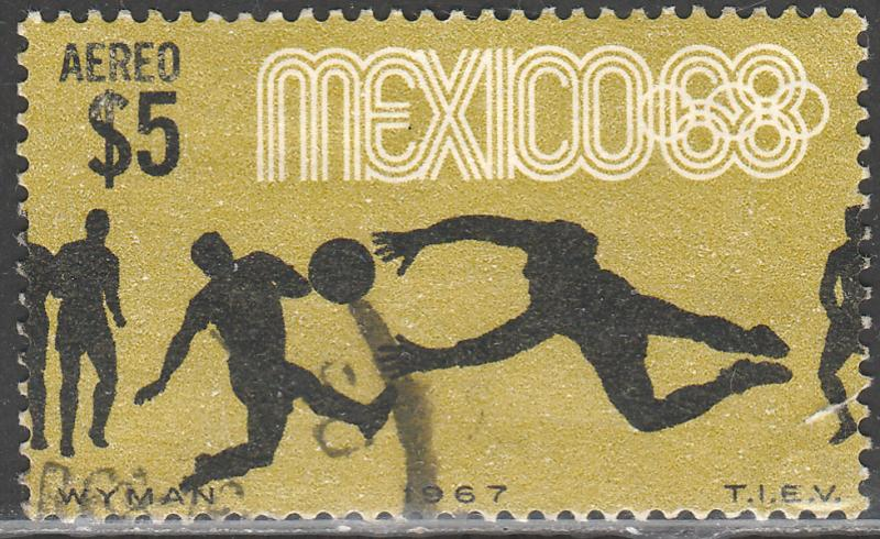 MEXICO C331, $5P Soccer 3rd Pre-Olympic SINGLE 1967. USED. F-VF. (1029)