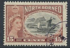 North Borneo SG 388 SC# 277   CTO / Used   Native Boat see details