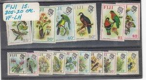 FIJI (MM126) # 305-320 VF-MLH VARc,$ 1971-72 VARIOUS BIRD STAMPS CAT VALUE $32