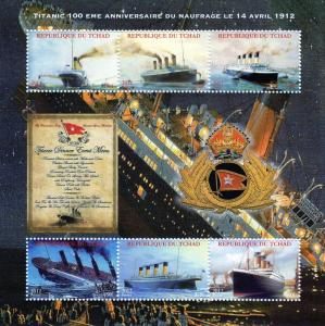Chad 2012 Titanic Disaster 100th.Ann. Sheetlet (6) Perforated MNH VF