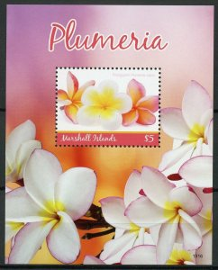 Marshall Islands Flowers Stamps 2019 MNH Plumeria Nature Flora 1v S/S