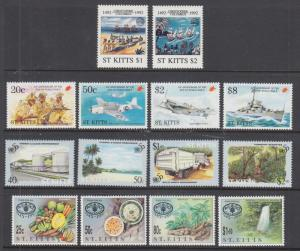St. Kitts Sc 341//405 MNH. 1992-1995 issues, 4 complete sets, VF
