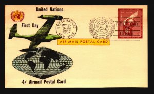 UN 1957 4c Postal Card FDC / Hand Colored Cachet - L3772