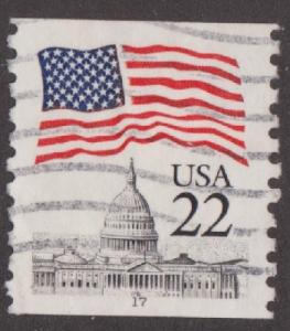 US #2115a Flag over Capitol Used PNC Single plate #17  Narrow Tag