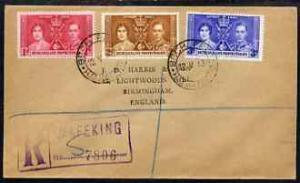 Bechuanaland 1937 KG6 Coronation set of 3 on reg cover wi...