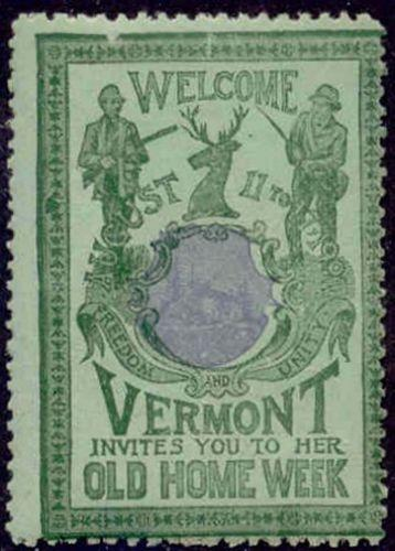 US 1901 Vermont Old Home Week Misregistered Poster Stamp (G-B-G)
