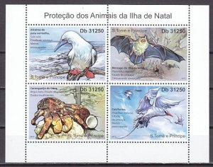 St. Thomas, 2011 issue. Animal Protection issue. Bats, Birds & Crab. ^