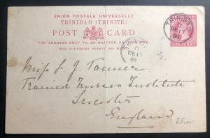 1891 Trinidad & Tobago Stationery Postcard Cover To Leicester England