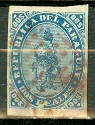M: Paraguay 2 used fine appearance but jagged 5-6mm tear at right CV $120