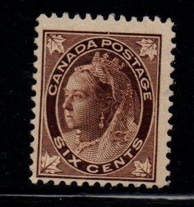 Canada Sc 71 1897 6 c brown Victoria Maple Leaf stamp mint