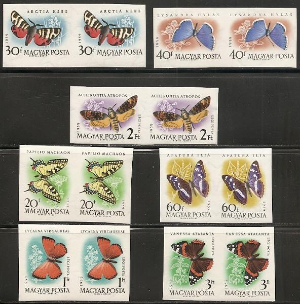 Hungary 1268-71 C206-8 1959 Butterflies IMPERF pairs LH c...