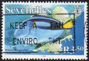 Seychelles 854 - Used - 3.50r Palette Surgeonfish (2005) (cv $1.60)