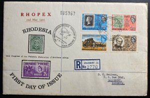 1966 Salisbury Southern Rhodesia First Day Cover FDC RHOPEX Philatelic Congress