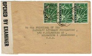 Nyasaland 1945 Dedza cancel on cover to the U.S., censored