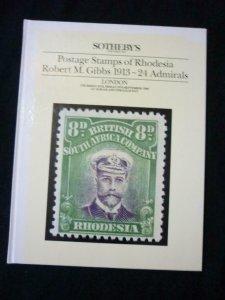 SOTHEBY'S AUCTION CATALOGUE 1988 RHODESIA ROBERT M GIBBS ADMIRALS