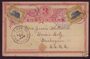 Guatemala H&G 4 used 1903 3c Postal Card to US, uprated RARE