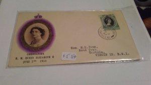 VIRGIN ISLANDS 1953 QUEEN ELIZABETH CORONATION COVER $5