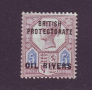 J21947 Jlstamps 1892 oil rivers niger coast proct mh #5 ovpt, 2 scans w/reverse