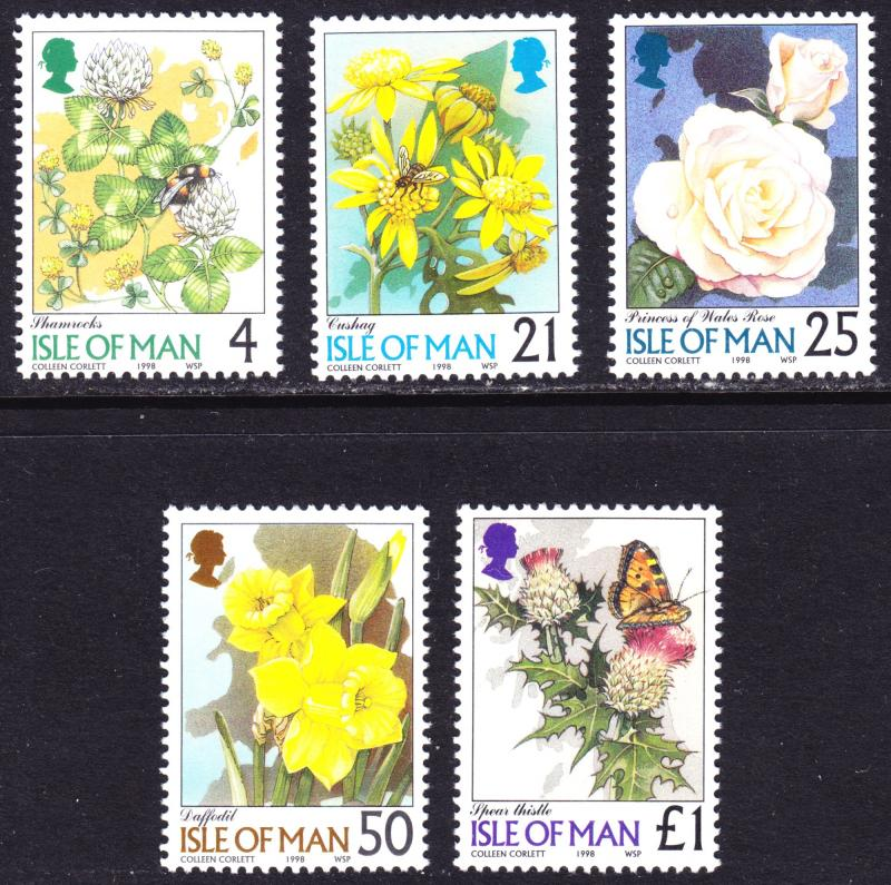 Isle of Man Scott 766-770  complete set  F to VF mint OG NH. # penned on gum.