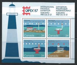 Canada #1066b 34c Lighthouses Souvenir Sheet of 4