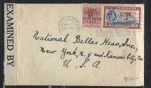 BAHAMAS   (P2808B)  1942  KGVI LANDFALL COLUMBUS 2D+8D CENSOR TO USA