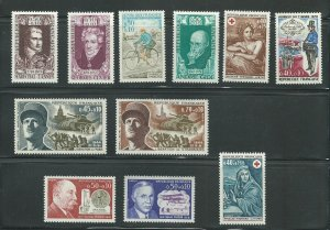 11 Different Unused Never Hinged Semi Postal Stamps From France