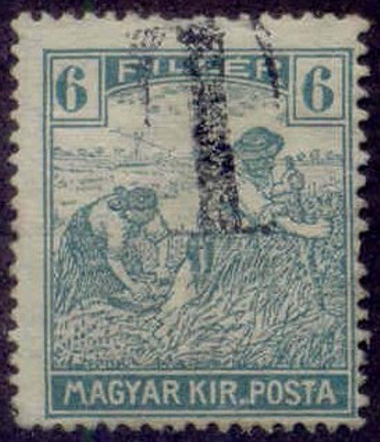 Hungary 1915-8 'T' Postage Due Overprint on 6f Harvesting Stamp