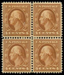 momen: US Stamps #334 Block of 4 Mint OG F/VF
