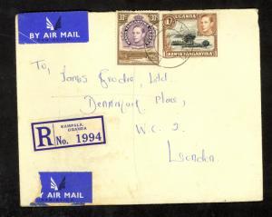 KUT UGANDA 1953 KGVI Flown Regsitered Cover KAMPALA to Great Britain 30c & 1sh
