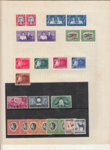 SOUTH WEST AFRICA ALBUM PAGE +CARD,  VALUES MOSTLY 1937-55, MOUNTED MINT /USED