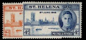 ST. HELENA GVI SG141-142, VICTORY set, NH MINT.