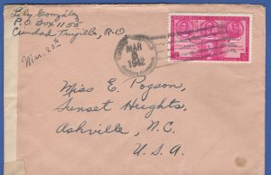 DOMINICAN REPUBLIC 1942 WWII Censored cover to USA