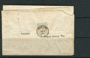 ITALY; SARDINIA 1861 classic Jounral WRAPPER/COVER Torino - Genova