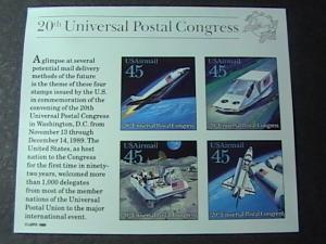 U.S.# C126-MINT/NEVER HINGED-SOUVENIR SHEET OF 4-UNIVERSAL POSTAL CONGRESS-1989