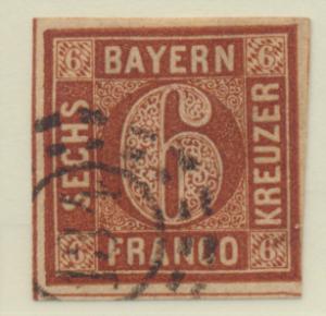 Bavaria (German State) Stamp Scott #5, Used, Good Margins - Free U.S. Shippin...