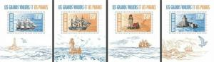 Niger - 2013 - Ships and Lighthouses -4 Stamp Souvenir Sheets 14A-247